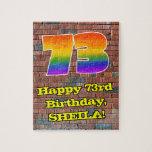 [ Thumbnail: 73rd Birthday: Fun Graffiti-Inspired Rainbow 73 Jigsaw Puzzle ]