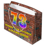 [ Thumbnail: 73rd Birthday: Fun, Graffiti-Inspired Rainbow # 73 Gift Bag ]