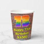 [ Thumbnail: 73rd Birthday: Fun Graffiti-Inspired Rainbow 73 ]