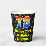 [ Thumbnail: 73rd Birthday: Fun Music Notes Pattern, Rainbow 73 ]