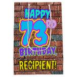 [ Thumbnail: 73rd Birthday: Fun, Urban Graffiti Inspired Look Gift Bag ]