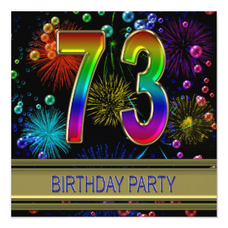 "73rd Birthday party Invitation with bubbles 5.25"" Square Invitation Card"