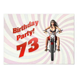 73rd birthday party with a girl on a motorbike card
