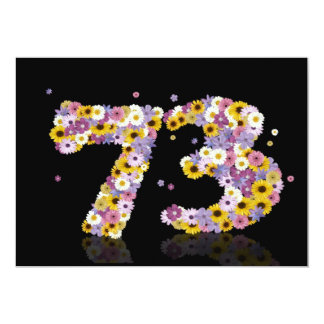 73rd Birthday party, with flowered letters Card
