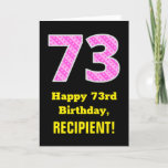"[ Thumbnail: 73rd Birthday: Pink Stripes and Hearts ""73"" + Name Card ]"