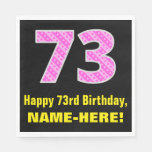 "[ Thumbnail: 73rd Birthday: Pink Stripes and Hearts ""73"" + Name Napkins ]"