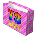 [ Thumbnail: 73rd Birthday: Pink Stripes & Hearts, Rainbow # 73 Gift Bag ]