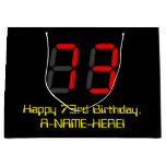 "[ Thumbnail: 73rd Birthday: Red Digital Clock Style ""73"" + Name Gift Bag ]"