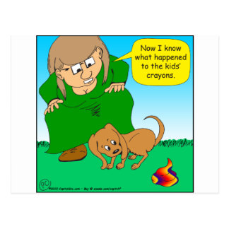 740 colorful puppy poop cartoon postcard