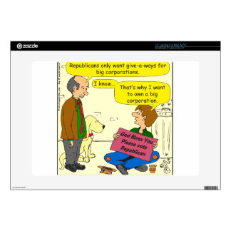 "746 own a corporation cartoon 15"" laptop decal"