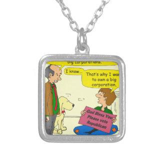746 own a corporation cartoon square pendant necklace
