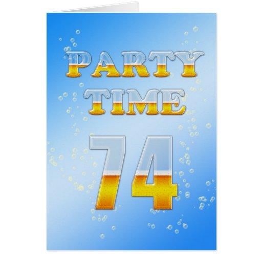 74.a invitación de la fiesta de cumpleaños con las tarjeta de felicitación