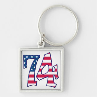 74 Age USA Silver-Colored Square Keychain