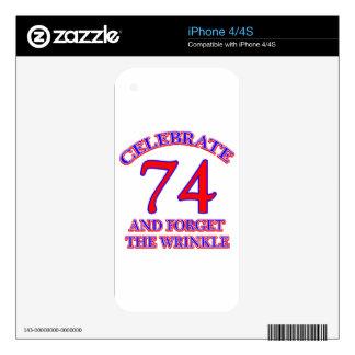 74 birthday design iPhone 4 skins