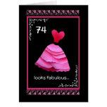74.o Cumpleaños fabuloso con el vestido rosado Tarjetas