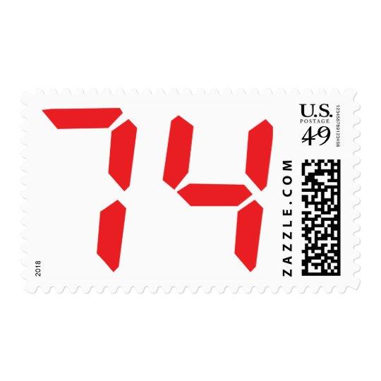74 seventy-four red alarm clock digital number stamp