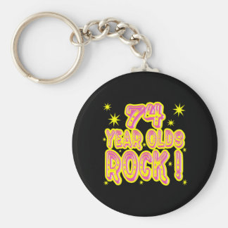 74 Year Olds Rock! (Pink) Keychain