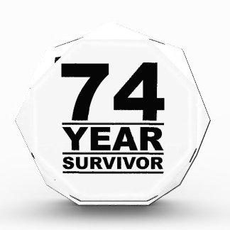 74 year survivor acrylic award