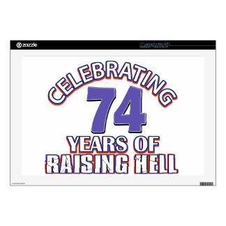 74 years of raising hell decal for laptop