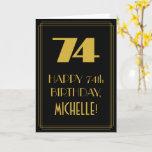 "[ Thumbnail: 74th Birthday ~ Art Deco Inspired Look ""74"" & Name Card ]"