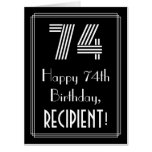 "[ Thumbnail: 74th Birthday — Art Deco Inspired Look ""74"" + Name Card ]"