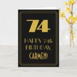 "[ Thumbnail: 74th Birthday – Art Deco Inspired Look ""74"" & Name Card ]"
