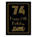 "[ Thumbnail: 74th Birthday: Art Deco Inspired Look ""74"" + Name Card ]"
