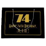 "[ Thumbnail: 74th Birthday — Art Deco Inspired Look ""74"" & Name Gift Bag ]"