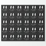 """[ Thumbnail: 74th Birthday - Art Deco Inspired Look """"74"""", Name Wrapping Paper ]"""