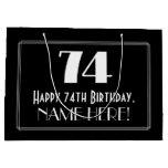 "[ Thumbnail: 74th Birthday: Art Deco Inspired Style ""74"", Name Gift Bag ]"