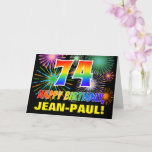 [ Thumbnail: 74th Birthday: Bold, Fun, Fireworks, Rainbow 74 Card ]