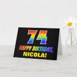 [ Thumbnail: 74th Birthday: Bold, Fun, Simple, Rainbow 74 Card ]