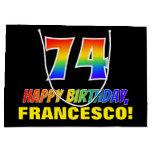 [ Thumbnail: 74th Birthday: Bold, Fun, Simple, Rainbow 74 Gift Bag ]