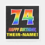 [ Thumbnail: 74th Birthday: Bold, Fun, Simple, Rainbow 74 Napkins ]