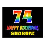 [ Thumbnail: 74th Birthday: Bold, Fun, Simple, Rainbow 74 Postcard ]
