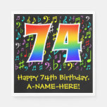 [ Thumbnail: 74th Birthday - Colorful Music Symbols, Rainbow 74 Napkins ]