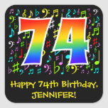 [ Thumbnail: 74th Birthday: Colorful Music Symbols, Rainbow 74 Sticker ]