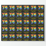 [ Thumbnail: 74th Birthday: Colorful Music Symbols, Rainbow 74 Wrapping Paper ]