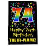 [ Thumbnail: 74th Birthday: Colorful Stars Pattern & Rainbow 74 Gift Bag ]