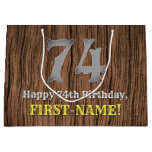 [ Thumbnail: 74th Birthday: Country Western Inspired Look, Name Gift Bag ]