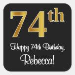 [ Thumbnail: 74th Birthday – Elegant Luxurious Faux Gold Look # Sticker ]