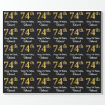 [ Thumbnail: 74th Birthday: Elegant Luxurious Faux Gold Look # Wrapping Paper ]