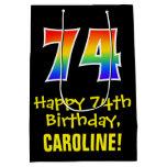 "[ Thumbnail: 74th Birthday: Fun, Bold, Colorful, Rainbow ""74"" Gift Bag ]"