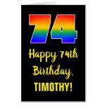 [ Thumbnail: 74th Birthday: Fun, Colorful, Happy, Rainbow # 74 Card ]