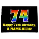 [ Thumbnail: 74th Birthday ~ Fun, Colorful, Vibrant, Rainbow 74 Gift Bag ]