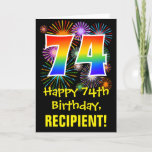 [ Thumbnail: 74th Birthday: Fun Fireworks Pattern + Rainbow 74 Card ]