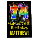 [ Thumbnail: 74th Birthday: Fun Fireworks Pattern + Rainbow 74 Gift Bag ]