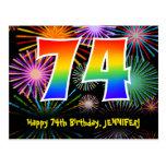 [ Thumbnail: 74th Birthday – Fun Fireworks Pattern + Rainbow 74 Postcard ]