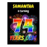 "[ Thumbnail: 74th Birthday - Fun Fireworks, Rainbow Look ""74"" Postcard ]"