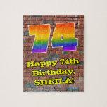 [ Thumbnail: 74th Birthday: Fun Graffiti-Inspired Rainbow 74 Jigsaw Puzzle ]